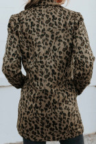 Leopard Snaps Pocketed Coat