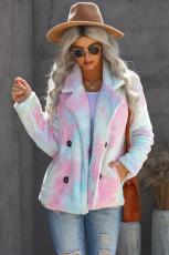 Cappotto in pile sul davanti aperto con colletto a risvolto tie dye multicolore