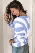 Sky Blue Striped Colorblock V Neck Knitted Sweater