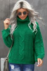 Green Oversize Turtleneck Textured Sweater