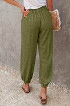 Green Linen Pocketed Elastic Waistband Joggers