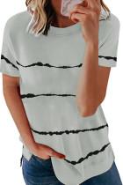Grå Tie-dye Stripe Casual T-skjorte