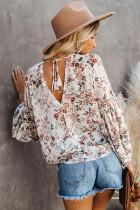 Flerfarget Wrap V Neck Lantern Sleeve Floral Print Drape Bluse
