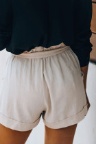 Cotton Pocketed Paper Bag Waist Shorts