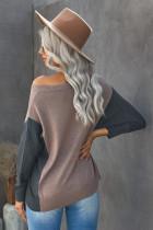 Khaki V-hals Color Block løs genser