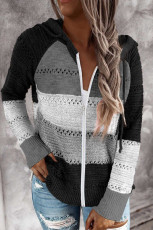 Black Zipped Front Colorblock Hollow-out Knit Hoodie