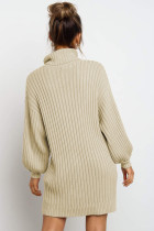 Apricot Turtleneck Balloon Sleeve Sweater Dress