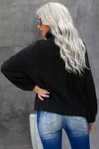Black Oversize Turtleneck Textured Sweater