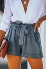 Gray Cotton Pocketed Paper Bag Waist Shorts
