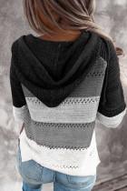 Felpa con cappuccio in maglia a blocchi di colore nero con zip frontale
