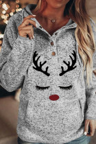 Gray Christmas Reindeer Print Button Kangaroo Pocket Hoodie