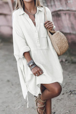 White Half Button Pocketed Linen Casual Mini Dress