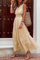Apricot Glitter Polka dot Lace Sleeveless Tiered Maxi Dress