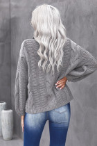 Gray Oversize Turtleneck Textured Sweater