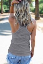 Grå Scoop Neck Basic Solid Tank Top