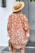 Orange Boho Print Free Flowing Tunika