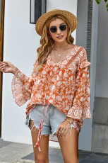 Orange Boho Print Free Flow Tunica