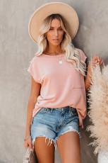 Rosa lomme-T-skjorte med sidespalter