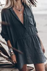 Black Half Button Pocketed Linen Casual Mini Dress