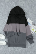 Black Drawstring Color Block Stripe Casual Hoodies