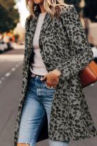معطف طية صدر السترة بطبعة جلد الفهد