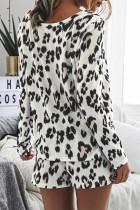 Leopard topp og snor lomme shorts to-delt sett