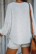 Grå ballong ermet stripet bomullsblanding topp og snor shorts sett