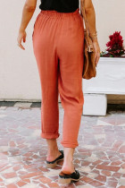 Orange Linen Blend Pocketed Pants
