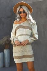 Beige Color Block kabelstrikket sweaterkjole