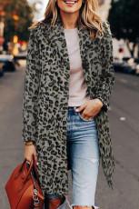 Cappotto bavero con stampa leopardata