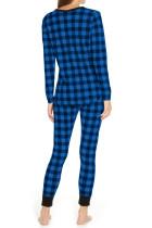 Loungewear in due pezzi a quadri blu