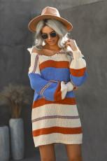 Flerfarvet farveblok kabelstrikket sweaterkjole