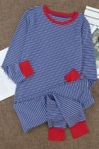 Stripet pyjamasett med rund hals og kontrast