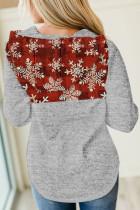 عيد الميلاد ندفة الثلج طباعة هوديي منقوشة خياطة