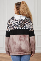Brown Leopard Splicing Colorblock Plus Size Hoodie με τσέπη