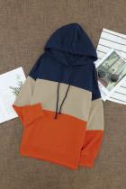 Oransje snøre Fargeblokk Stripe Casual hettegensere