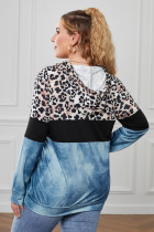 Blue Leopard Splicing Colorblock Plus Size Hoodie με τσέπη