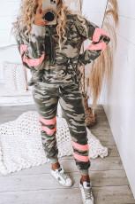 Grønn Camo Print Fargeblokk Pullover Pyjamasett