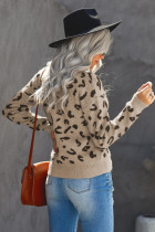 Ribbed Round Neck Leopard Sweater