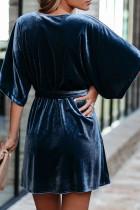 Blue V-neck Half Sleeve Velvet Mini Dress with Belt