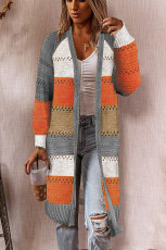 Gray Color Block Eyelet Knitted Lightweight Cardigan