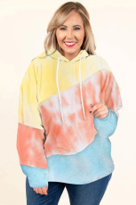 Sky Blue Colorblock Kangaroo Pocket Plus Size Hoodie