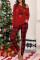 Rød julebrev utskrevet rutete pyjamasett