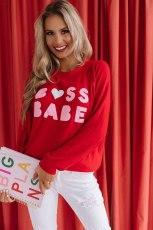 قميص عيد الحب مطبوع برقبة دائرية حمراء