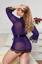 Purple Sheer Eyelash Lace Plus Size Robe