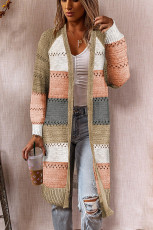 Multicolor Color Block Eyelet Knitted Lightweight Cardigan