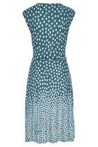 أزرق سماوي منقطة رقبة V بلا أكمام فستان شاطئ