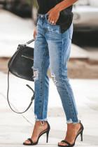 بنطلون جينز ممزق برقع جلد الفهد