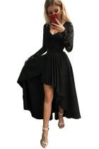 فستان سهرة بفتحة رقبة على شكل V دانتيل بدون ظهر بحافة عالية ومنخفضة