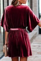 Burgundy V-neck Half Sleeve Velvet Mini Dress with Belt